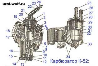 Карбюратор К-52 мотоцикла Урал