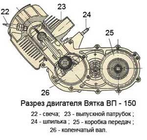 Разрез двигателя мотороллера Вятка ВП-150
